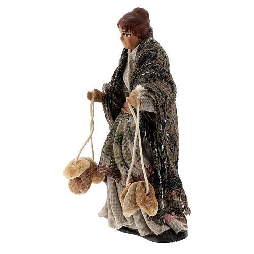 Femme avec pains santon crèche napolitaine terre cuite 8 cm 2