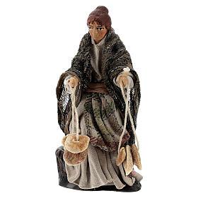 Donna con friselle statua presepe napoletano terracotta 8 cm s1