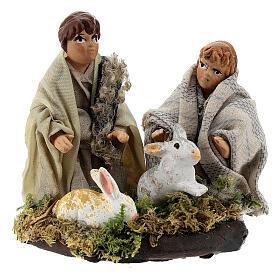 Couple enfants avec lapins terre cuite crèche napolitaine 8 cm s1