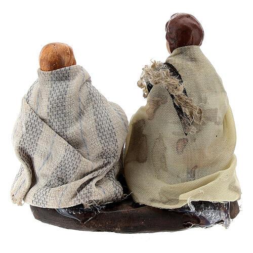 Couple enfants avec lapins terre cuite crèche napolitaine 8 cm 3