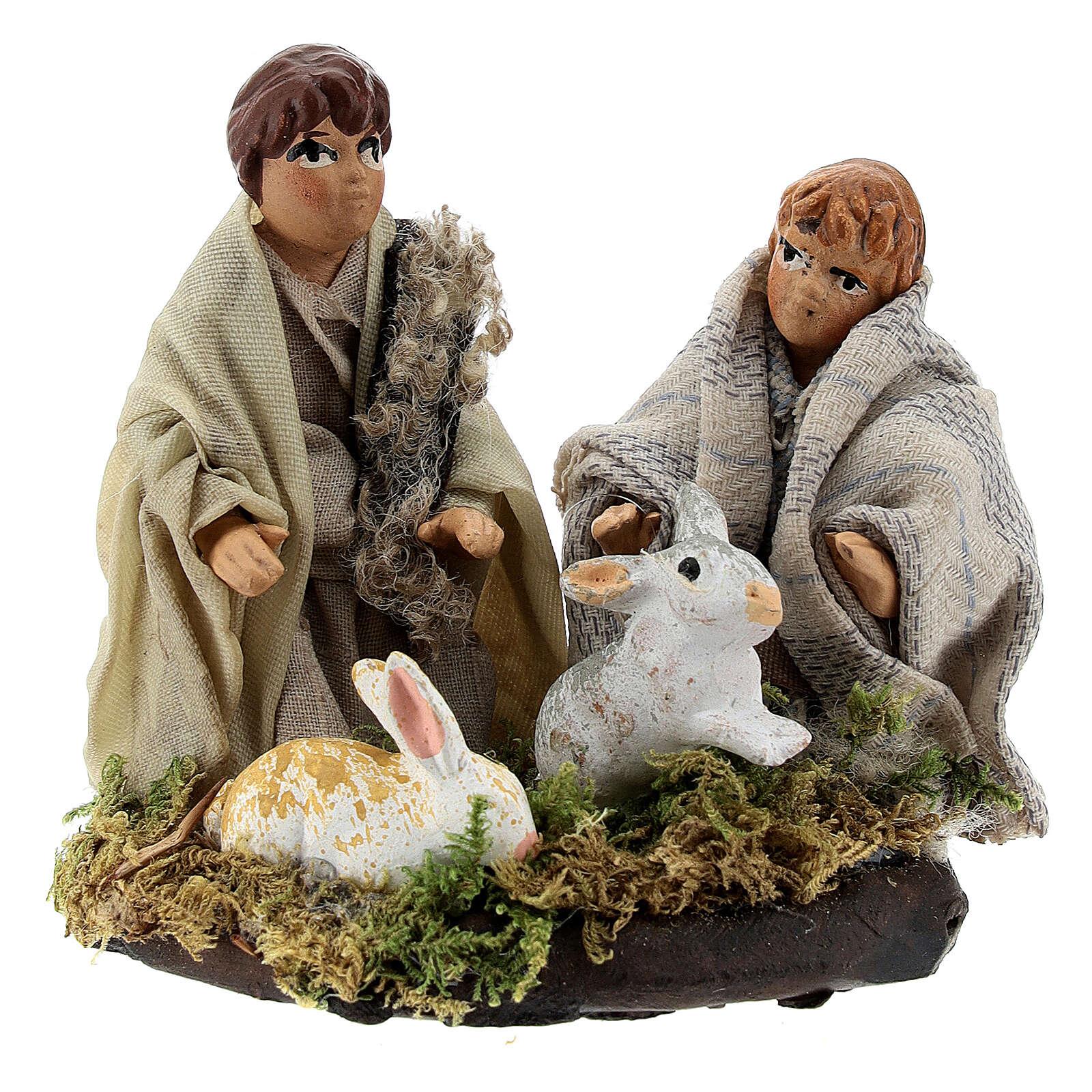 Two children with rabbits, 8 cm Neapolitan nativity terracotta 4