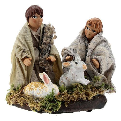 Two children with rabbits, 8 cm Neapolitan nativity terracotta 1