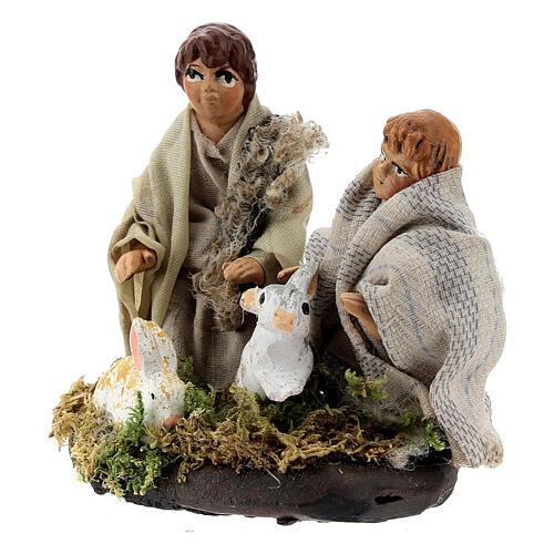 Two children with rabbits, 8 cm Neapolitan nativity terracotta 2