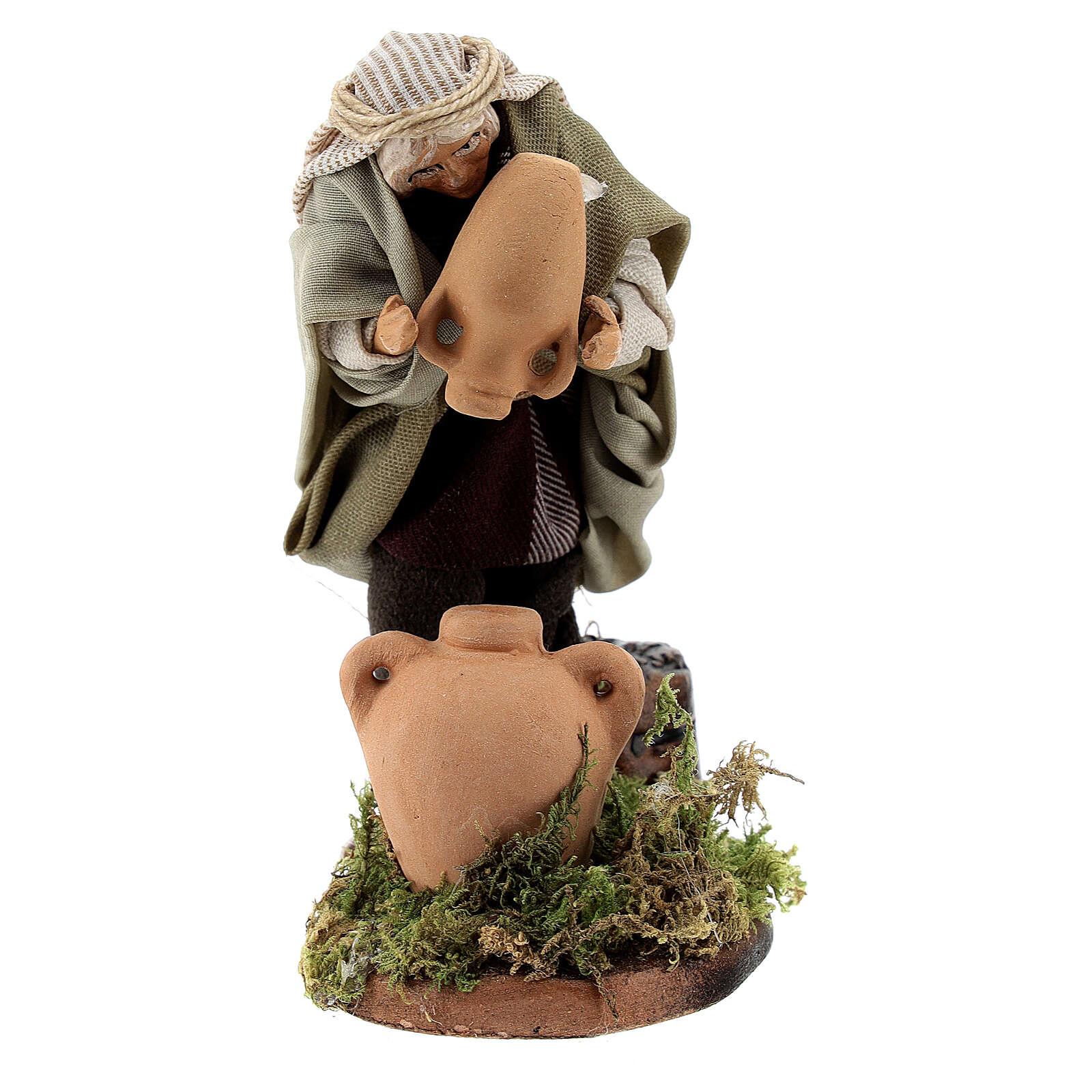 Uomo acquaiolo anfore terracotta presepe napoletano 8 cm 4