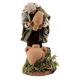 Uomo acquaiolo anfore terracotta presepe napoletano 8 cm s1