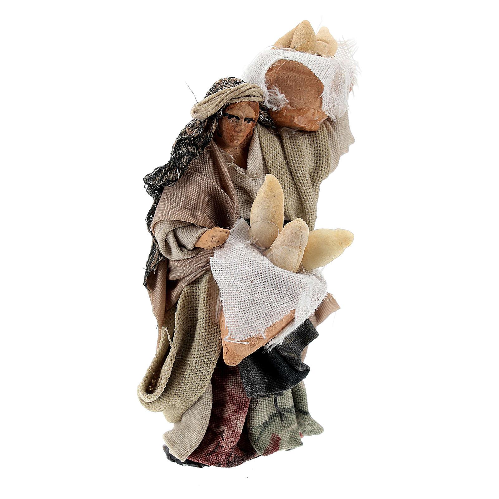 Woman with bread baskets, 8 cm Neapolitan nativity figurine 4