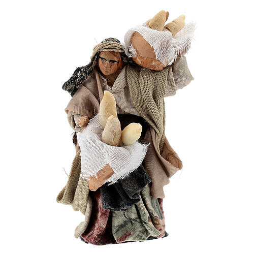 Woman with bread baskets, 8 cm Neapolitan nativity figurine 1