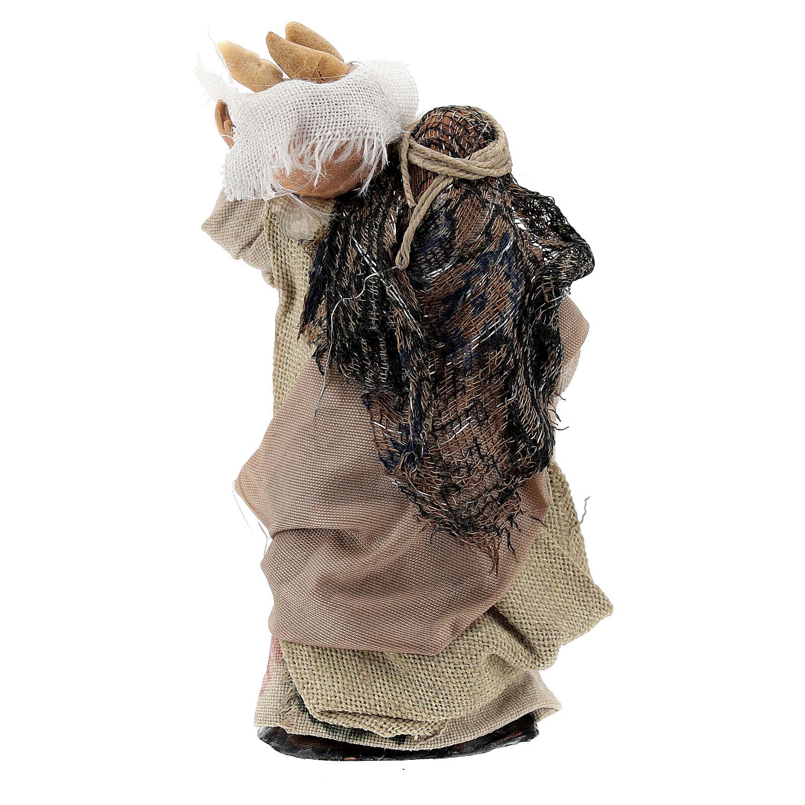 Mujer con cestas pan terracota belén napolitano 8 cm 4