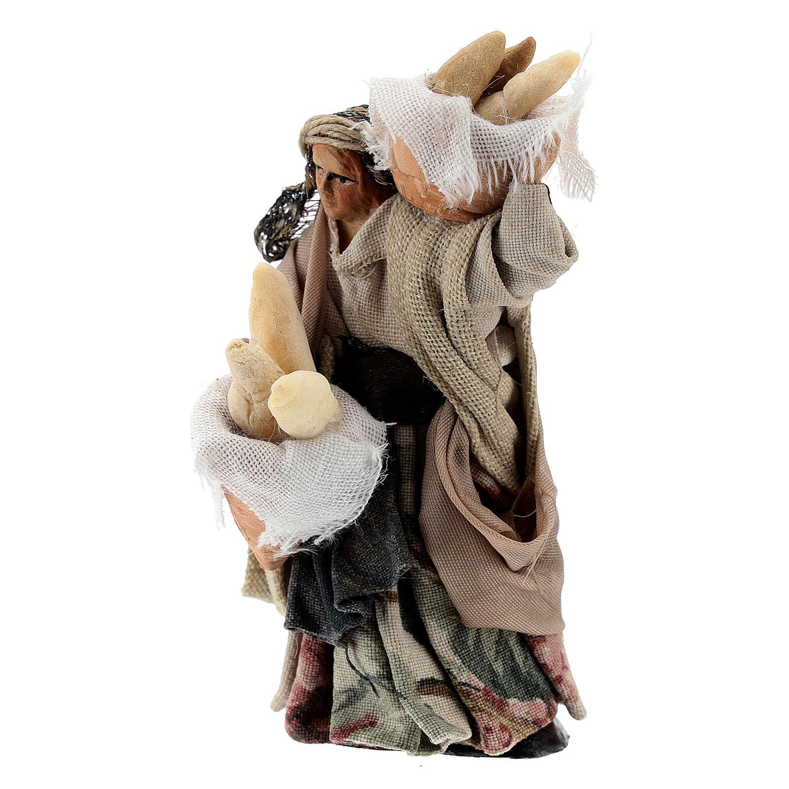 Femme avec paniers pain terre cuite crèche napolitaine 8 cm 4