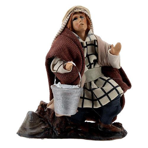 Lechero de rodillas 12 cm estatua terracota belén napolitano 1