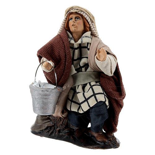 Lechero de rodillas 12 cm estatua terracota belén napolitano 2