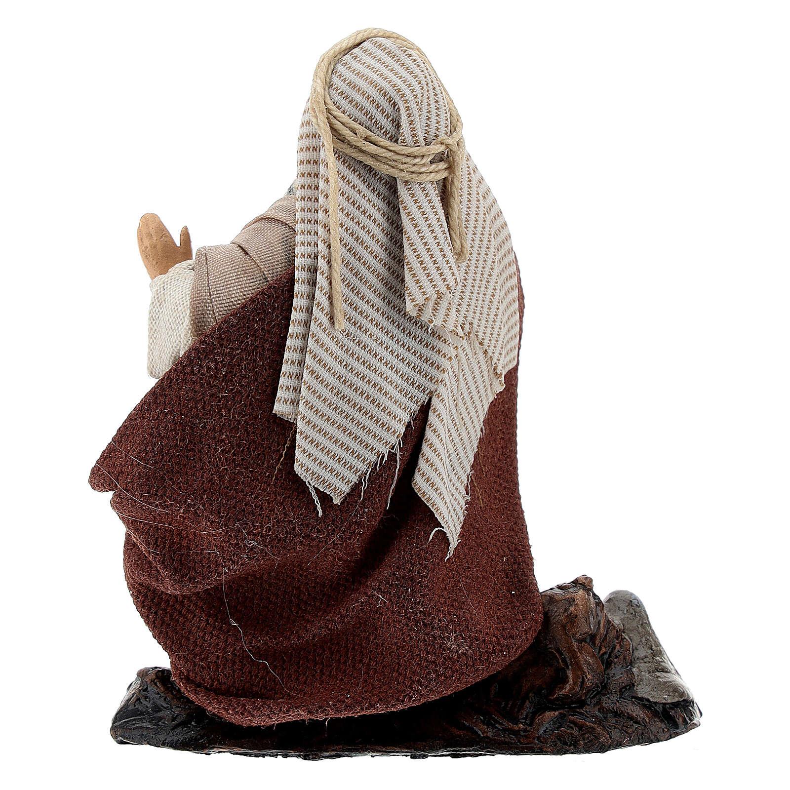 Lattaio in ginocchio 12 cm statua terracotta presepe napoletano 4