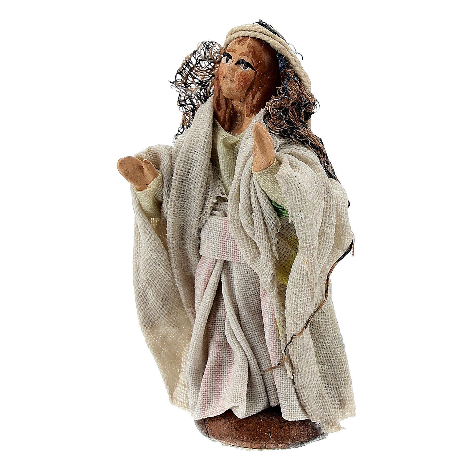 Niña que pasea belén napolitano estatua terracota 8 cm 4