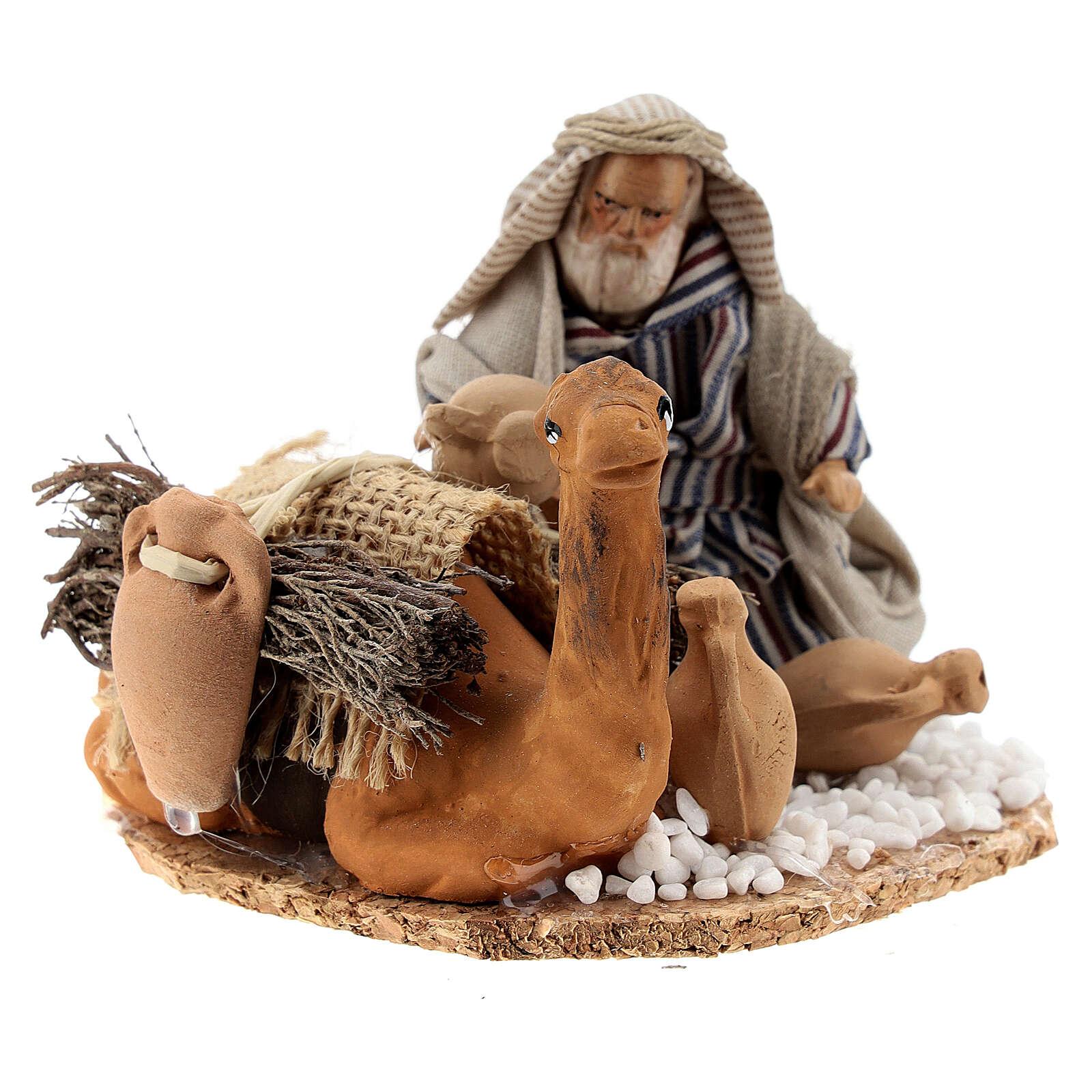 Homme arabe avec chameau chargé de jarres terre cuite crèche napolitaine 8 cm 4