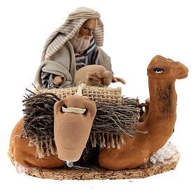 Homme arabe avec chameau chargé de jarres terre cuite crèche napolitaine 8 cm s1