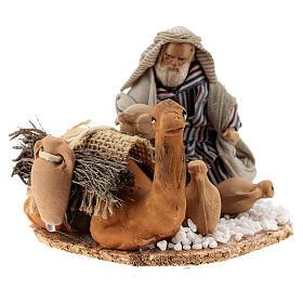 Homme arabe avec chameau chargé de jarres terre cuite crèche napolitaine 8 cm s2