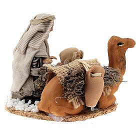 Homme arabe avec chameau chargé de jarres terre cuite crèche napolitaine 8 cm s3
