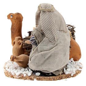 Homme arabe avec chameau chargé de jarres terre cuite crèche napolitaine 8 cm s4