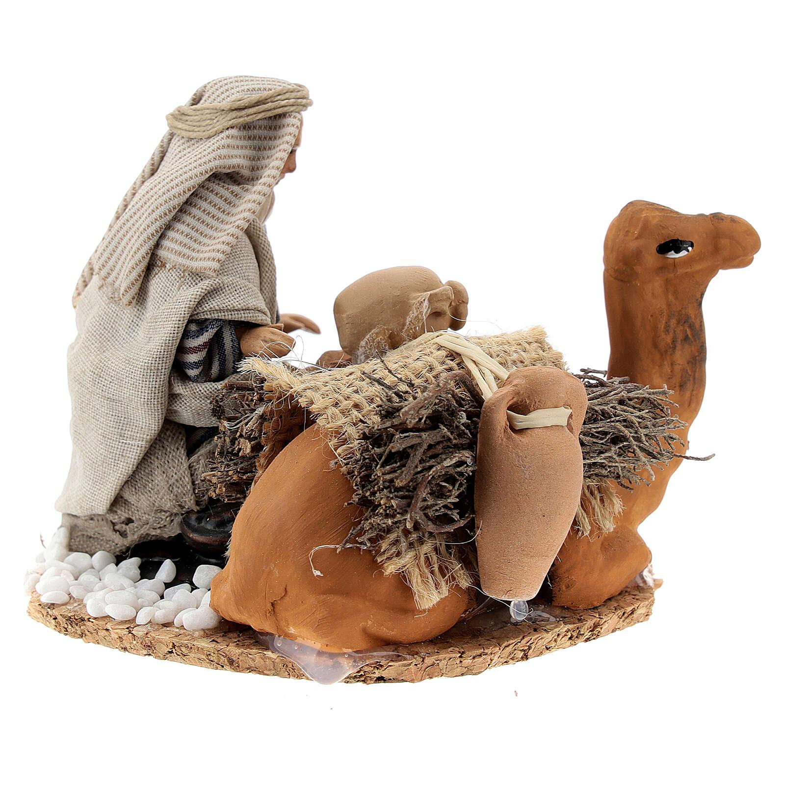 Arabo carica anfore cammello terracotta presepe napoletano 8 cm 4