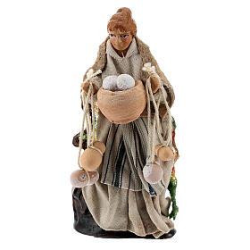 Woman with cheese, 8 cm Neapolitan nativity figurine s1