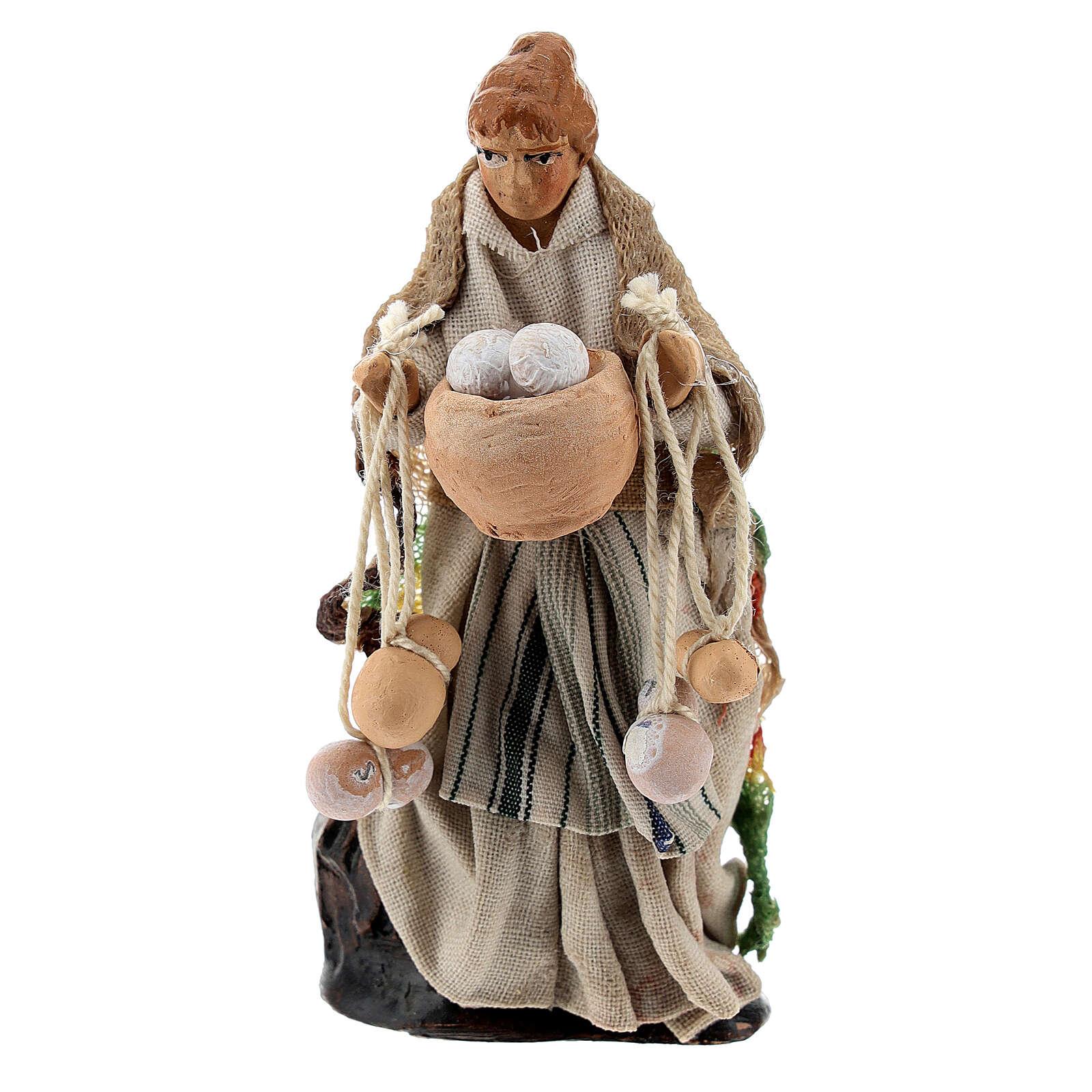 Woman with cheese, terracotta 8 cm Neapolitan nativity 4