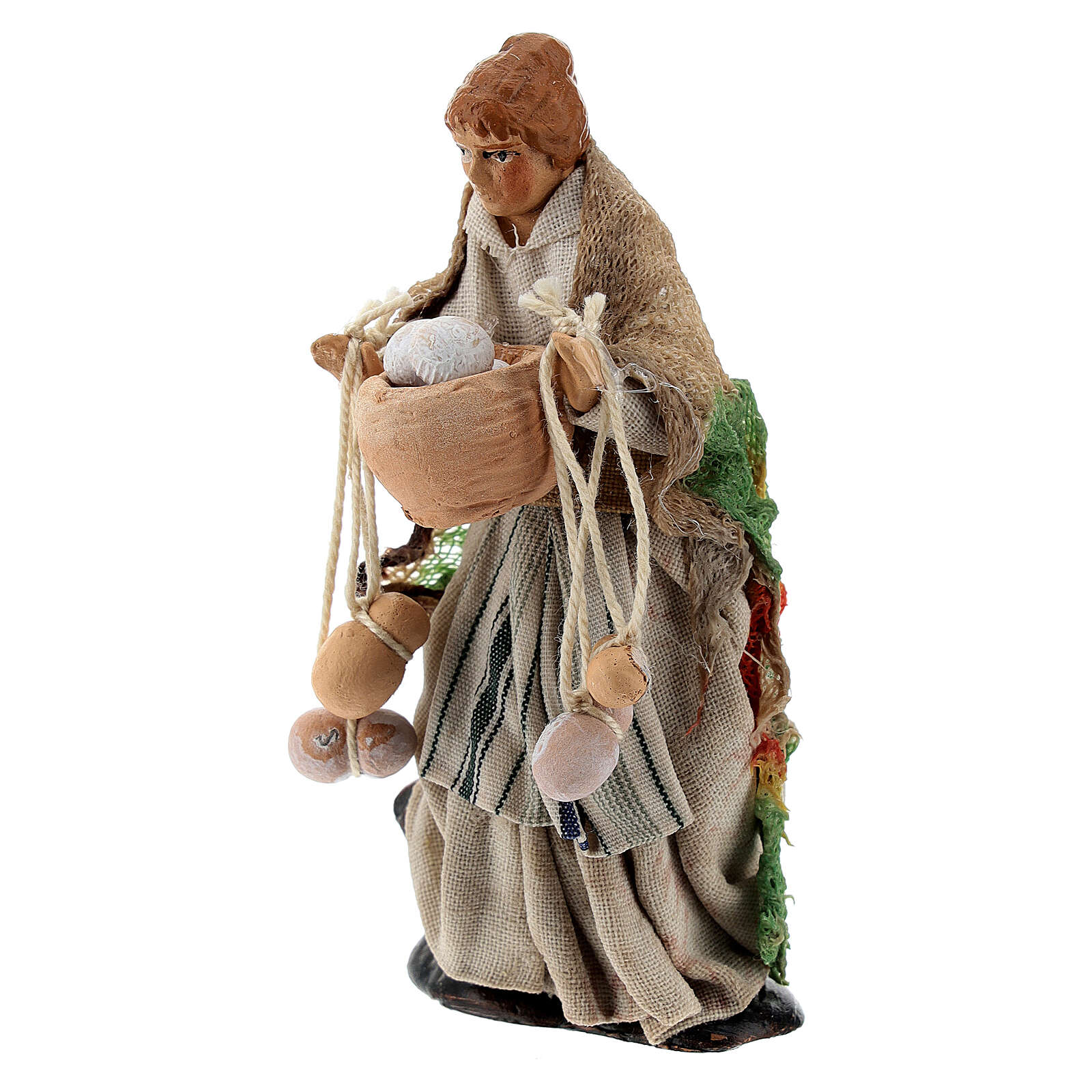 Woman with cheese, terracotta 8 cm Neapolitan nativity 4