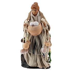 Woman with cheese, terracotta 8 cm Neapolitan nativity s1