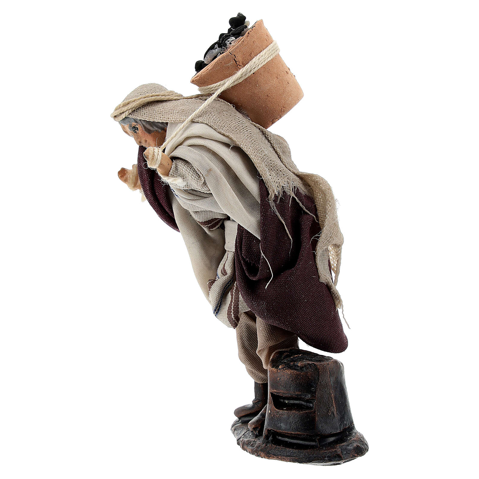 Uomo trasporta secchio carboni 8 cm terracotta presepe napoletano 4