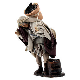 Man carrying coal bucket terracotta, 8 cm Neapolitan nativity s2