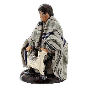 Boy with little goat in terracotta, 8 cm Neapolitan nativity s2