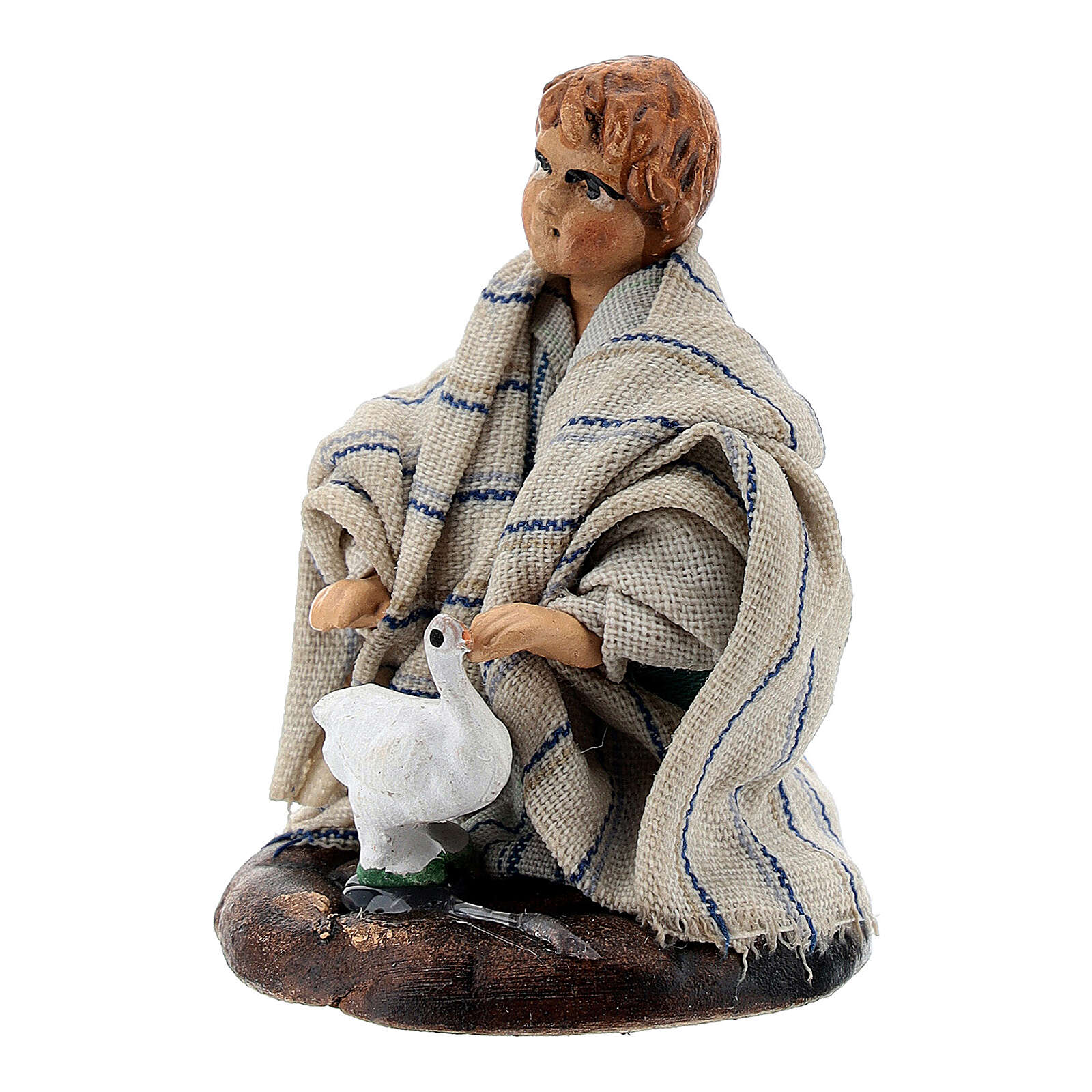 Boy with baby goose terracotta, 8 cm Neapolitan nativity 4