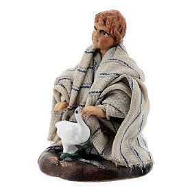 Boy with baby goose terracotta, 8 cm Neapolitan nativity s2