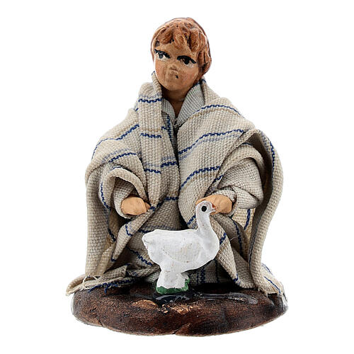 Boy with baby goose terracotta, 8 cm Neapolitan nativity 1