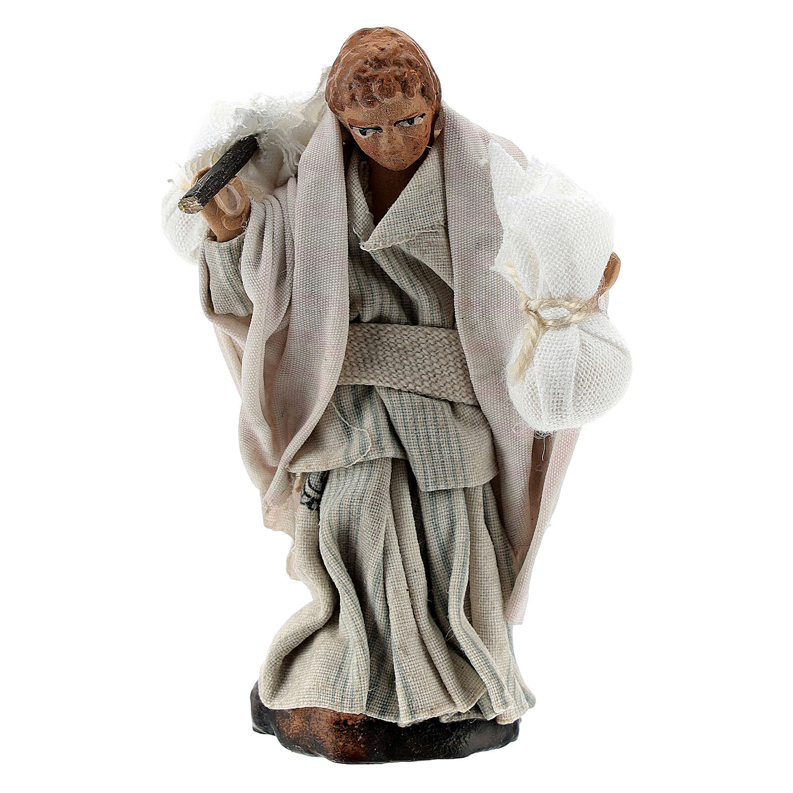 Boy carrying sacks over shoulder, 8 cm Neapolitan nativity figurine 4