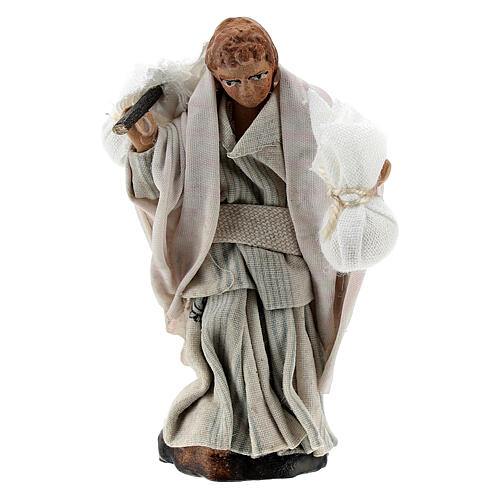 Boy carrying sacks over shoulder, 8 cm Neapolitan nativity figurine 1