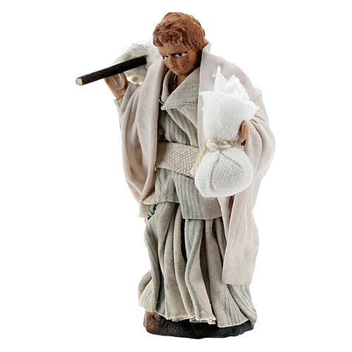 Boy carrying sacks over shoulder, 8 cm Neapolitan nativity figurine 2