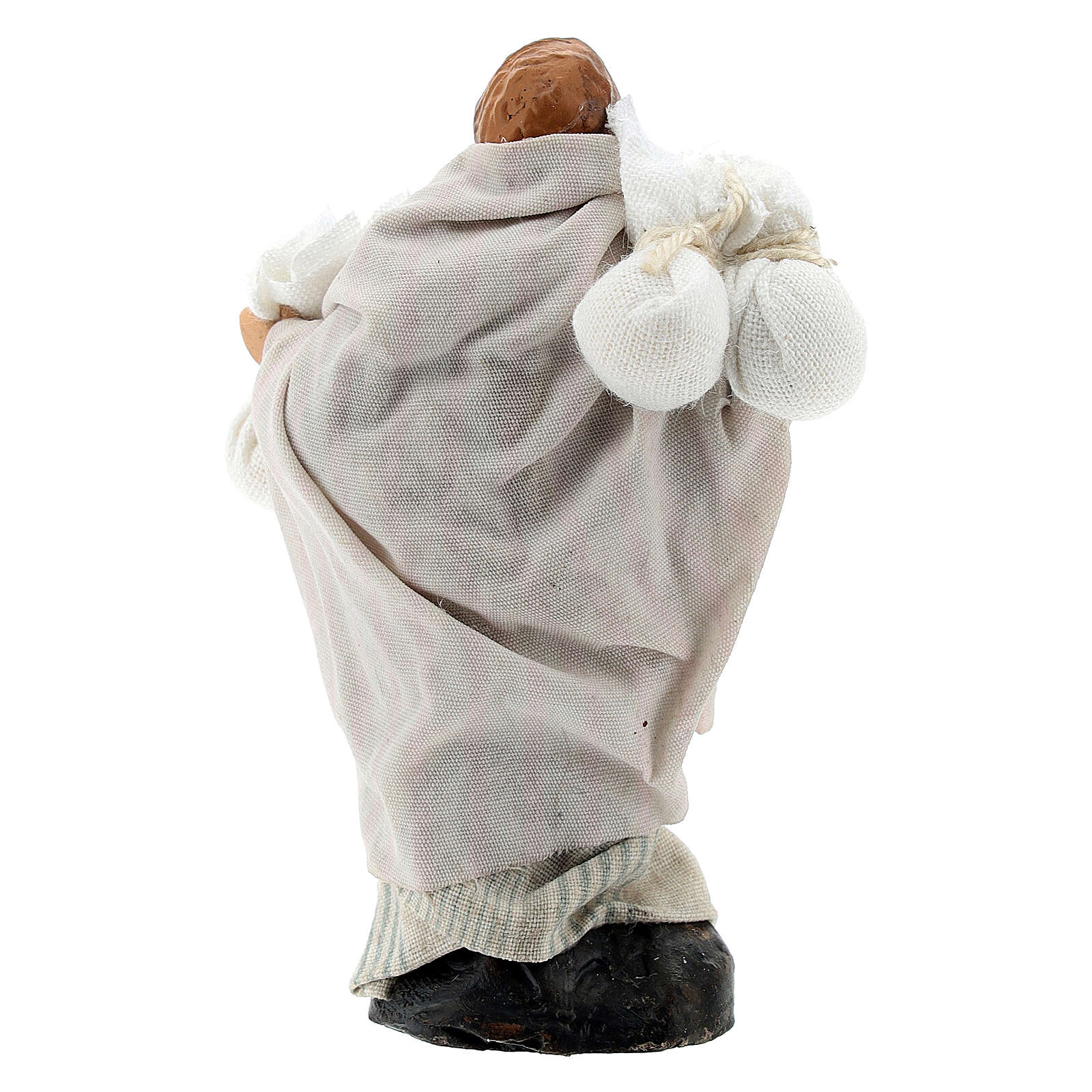 Boy carrying sacks over shoulder, 8 cm Neapolitan nativity terracotta 4