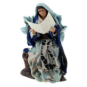 Mujer con libro cuenta cuentos belén napolitano terracota 8 cm s2