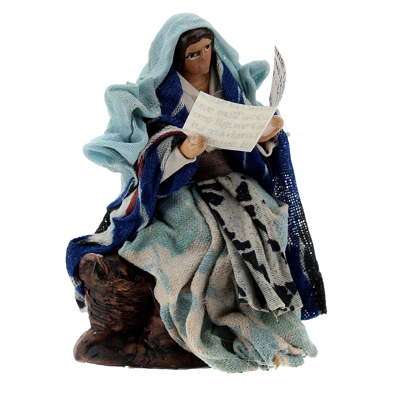 Donna con libro racconta storie presepe napoletano terracotta 8 cm 4
