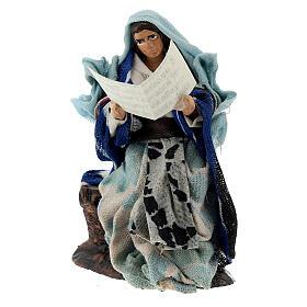Donna con libro racconta storie presepe napoletano terracotta 8 cm s2