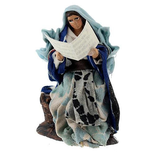 Donna con libro racconta storie presepe napoletano terracotta 8 cm 2