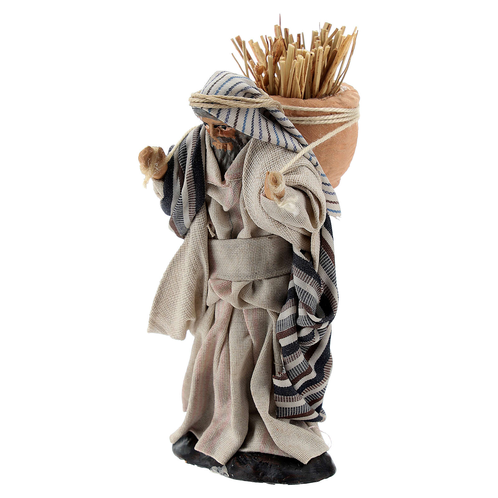 Arab man carrying hay, 8 cm Neapolitan nativity terracotta 4