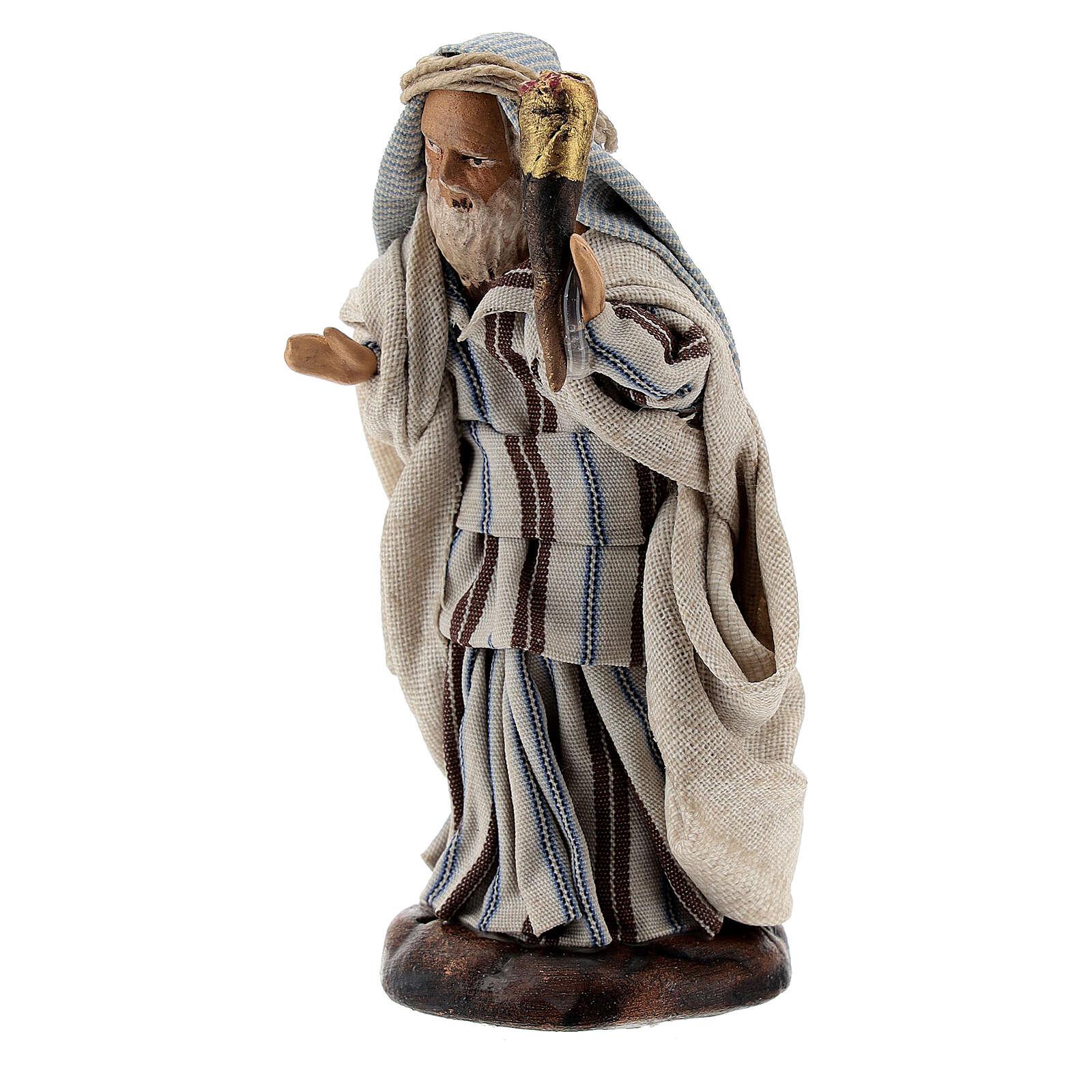 Man with fire torch 8 cm Neapolitan nativity figurine 4