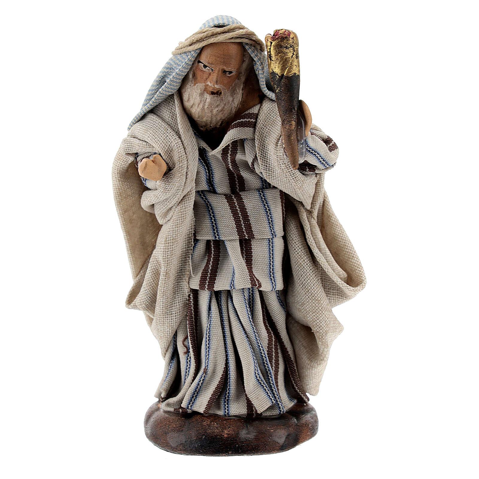 Uomo con fiaccola 8 cm presepe napoletano statua terracotta 4