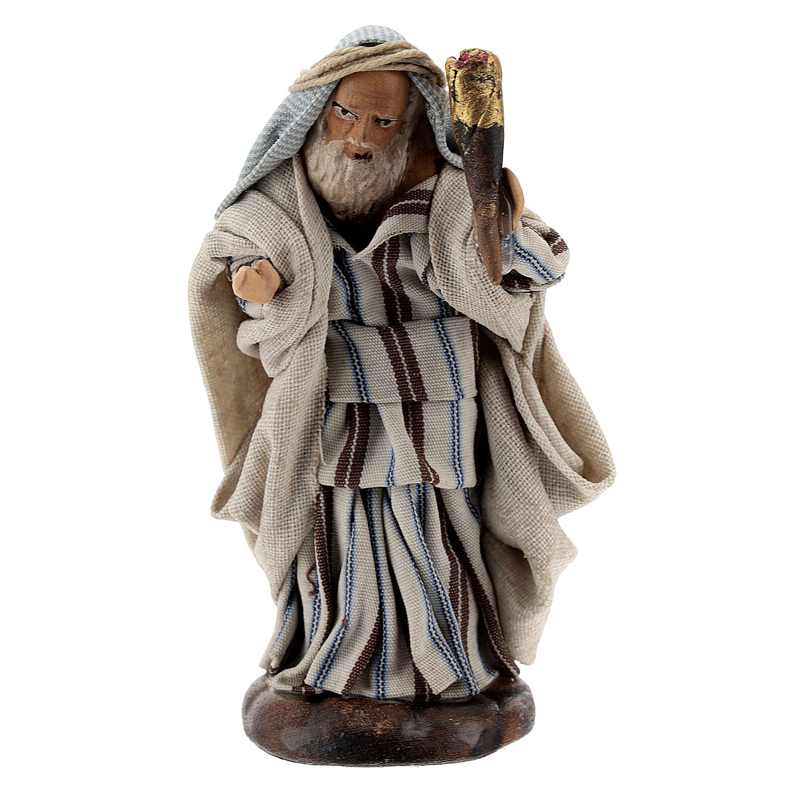 Man with fire torch terracotta, 8 cm Neapolitan nativity 4
