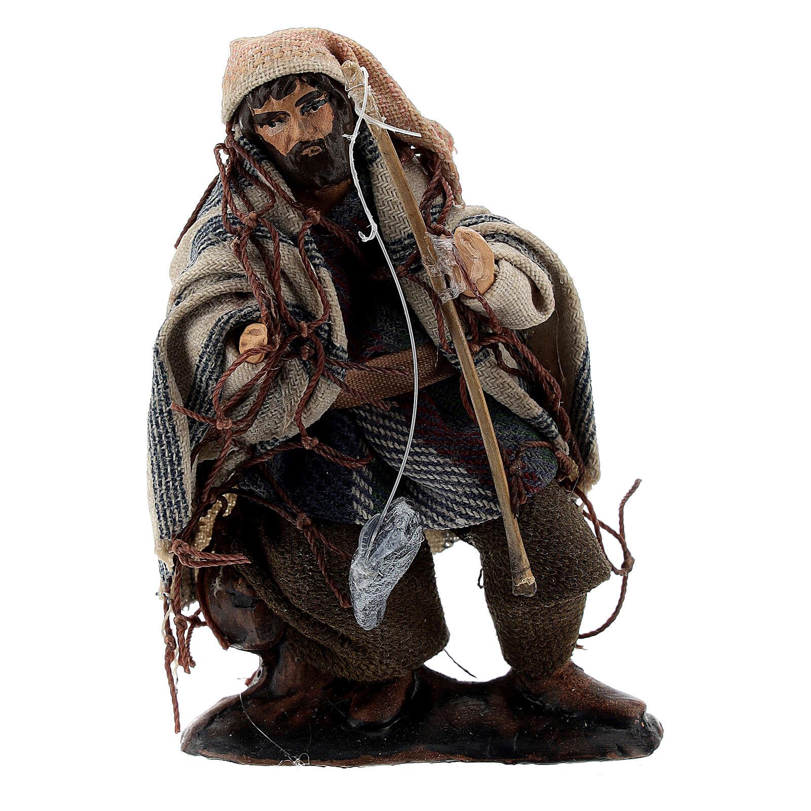 Fisherman with rod 8 cm Neapolitan nativity figurine 4