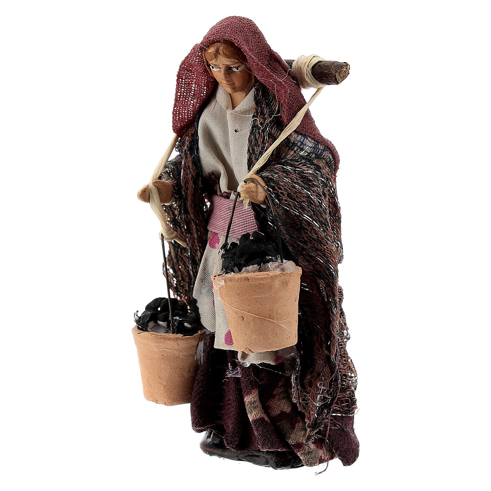 Donna con cesti carboni terracotta 8 cm presepe napoletano 4