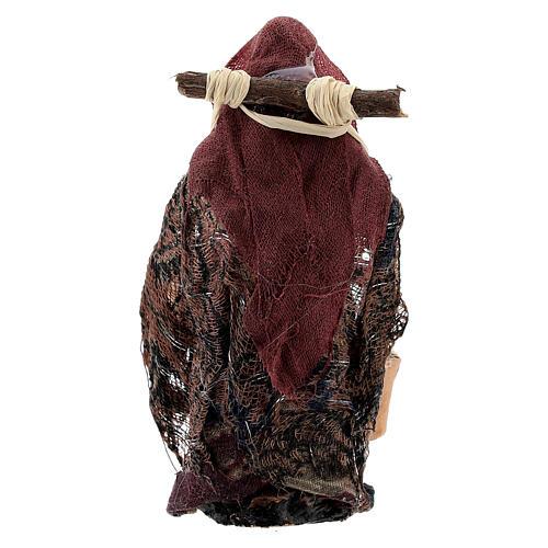 Donna con cesti carboni terracotta 8 cm presepe napoletano 3