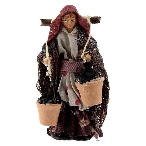 Woman with coal baskets terracotta, 8 cm Neapolitan nativity 1