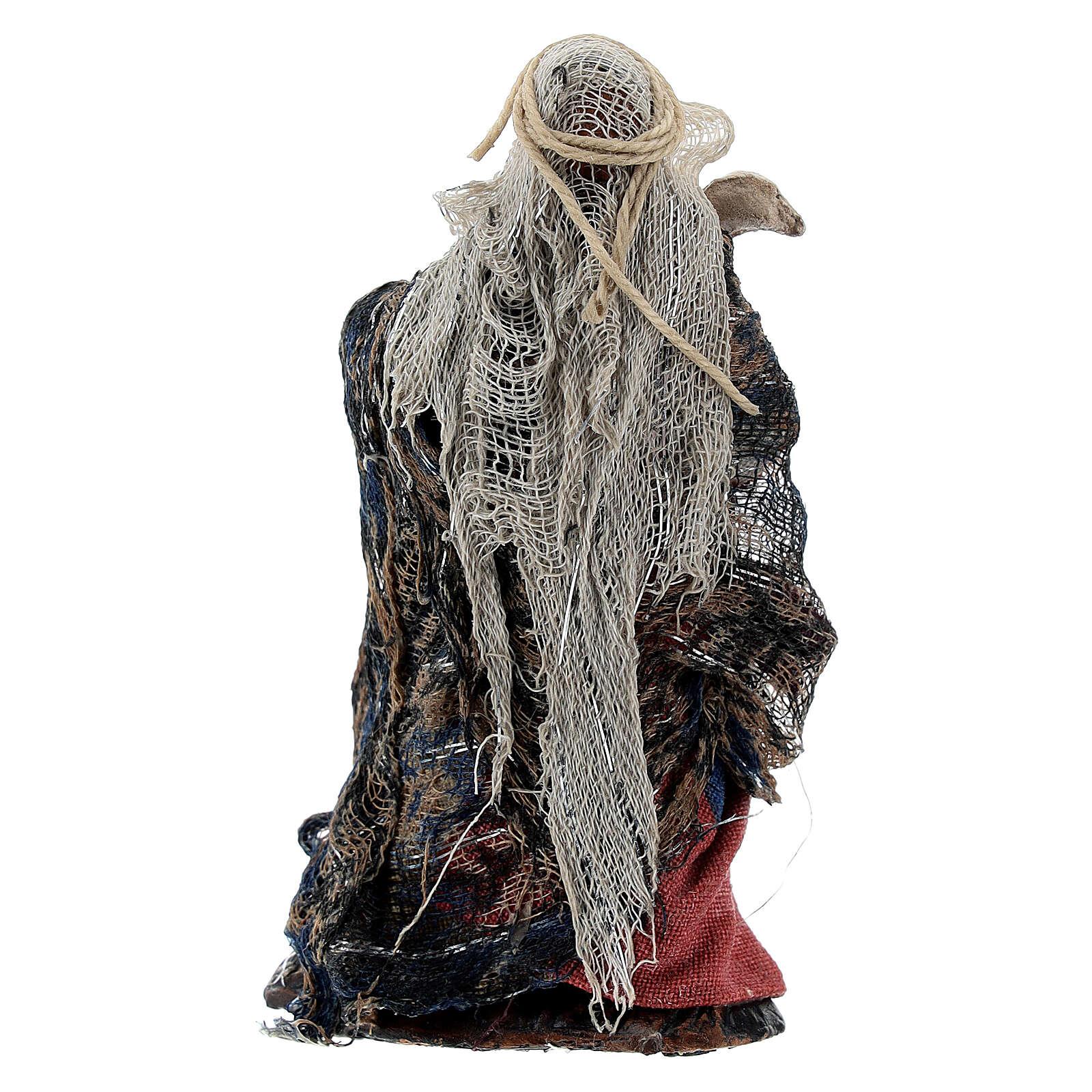 Femme avec oie à bras terre cuite crèche napolitaine 8 cm 4